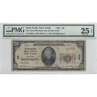 Series of 1929 $20 Dollar Bank of New York Fr1802-2 PMG 25 - Free Shipping USA