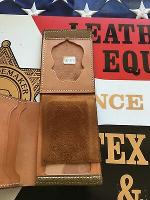 Tex Shoemaker Brown Leather Fire ID Wallet / Badge Fireman Marshal FD Fold Out