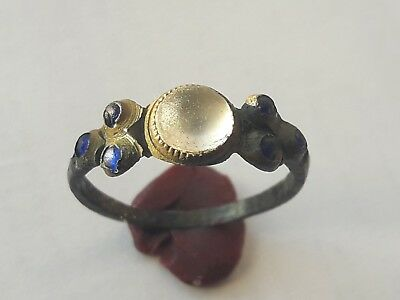 Medieval Bronze Ring With White Gem