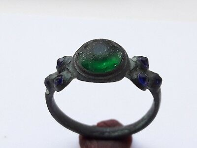 Medieval Bronze Ring With Green Gem