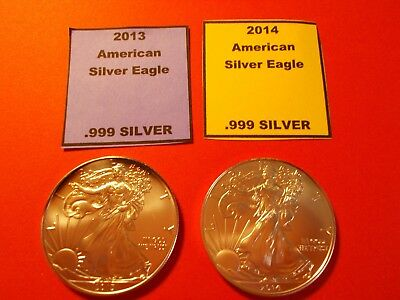 Lot of 2 Silver American Eagles. 1- 2013 and 1- 2014  Brilliant Uncirculated