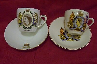 Queen Elizabeth Ii Coronation Cups And Saucers, 6/1953, English Bone China, Vtg