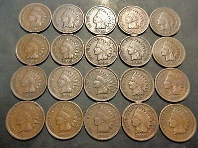 Lot #63) 20 nice coins all 1900's brown in color indian head penny 1C cent lot