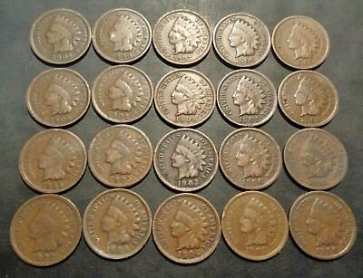 Lot #64) 20 nice coins all 1900's brown in color indian head penny 1C cent lot