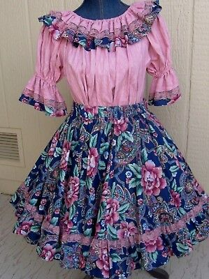 Rose blouse poly cotton flowered skirt on square dance dress & tie 21 long