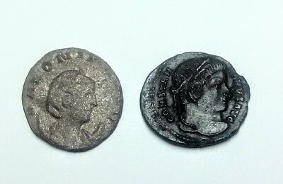 Metal Detecting Finds, 2 Roman Coins,1 Silver & 1 Bronze Unresearched.