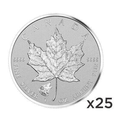 Lot of 25 x 1 oz 2016 Canadian Maple Leaf Wolf Privy Silver Coin