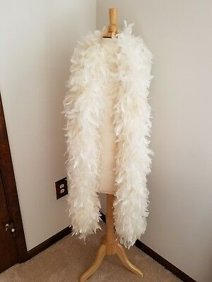 white extra thick real feather boa