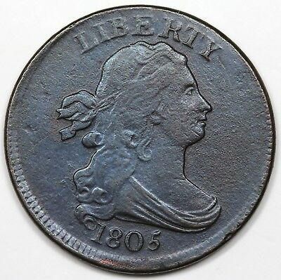 1805 Draped Bust Half Cent, Small 5, Stemless, XF detail