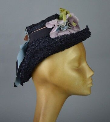 Vintage 1940's Tilt Topper Hat with Ribbons and Flowers