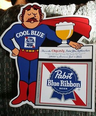 """VINTAGE Pabst Blue Ribbon Beer """"Cool Blue"""" Man Sticker - never applied - new PBR"""