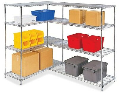 Heavy Duty Storage Shelf 4Tier Metal Wire Shelving Rack Steel Adjustable Storage