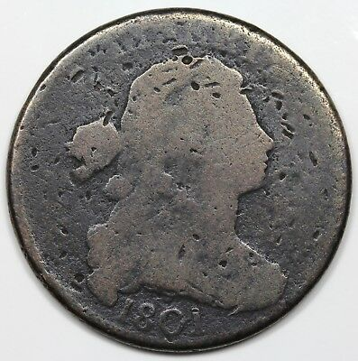 1801 Draped Bust Large Cent, G detail