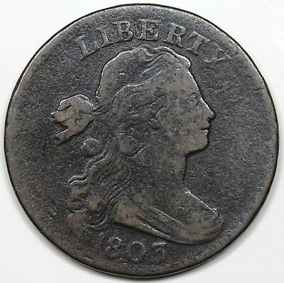 1803 Draped Bust Large Cent, Small Date & Fraction, F detail