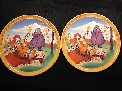 2 McDonald's 1977 Vintage Lexington Plastic Plate Ronald McDonald Fall US Seller