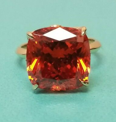 TIFFANY SPARKLERS CITRINE RING Size 6 18 K Gold with cushion-cut citrune  Carat