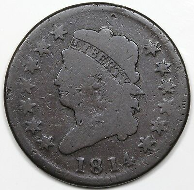 1814 Classic Head Large Cent, Crosslet 4, G+ detail