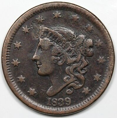 1839 Coronet Head Large Cent, Head of '38, F-VF detail