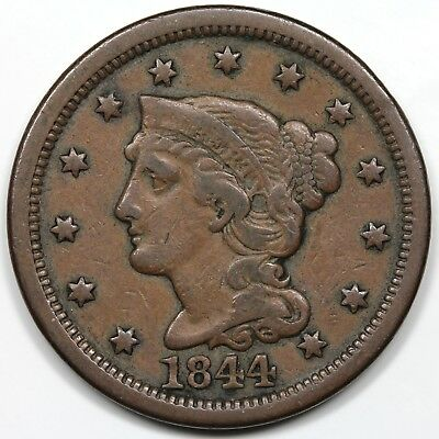 1844 Braided Hair Large Cent, nice VF