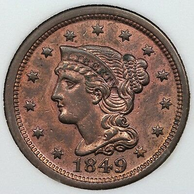 1849 Braided Hair Large Cent, AU detail