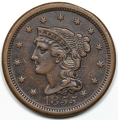 1855 Braided Hair Large Cent, Slant 5s, XF detail