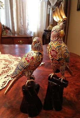 2 Vintage Chinese Birds Sculpture Enamel Cloisonne Filigree On Wood Stand Branch