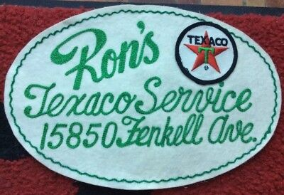 RARE Vintage Rons TEXACO Gas Station Large Advertising Back Patch from Detroit
