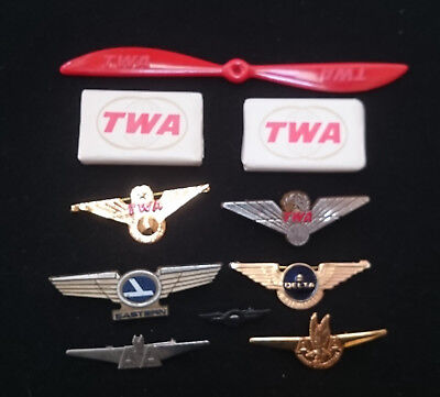 Vintage LOT of 10 AIRLINE PINS SOAP PROPELLER TWA AA Delta Eastern