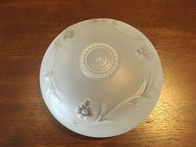 Vintage Glass Frosted Ceiling Light Globe Embossed Grapevine Design  *Excellent*