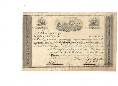 Johns Hopkins issued B&O Railroad Stock Certificate-1852