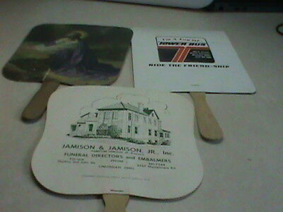3 Vintage Advertising Funeral Home Church Hand Held Fans 1930's - 40's Memphis