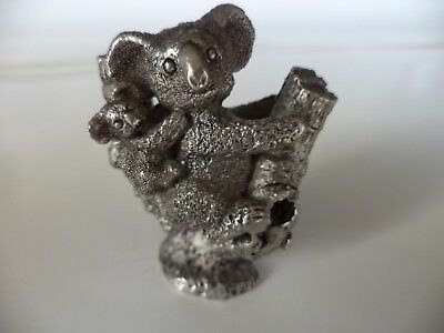 "71g DETAIL AUSTRALIAN PEWTER 1 7/8"" KOALA BEAR MOM AND BABY MINIATURE FIGURINE"