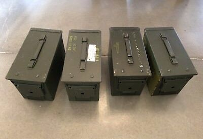 AMMO Can Box ARMY Military Surplus M2A1  Ammunition Metal Box 50 Cal - Pack of 4