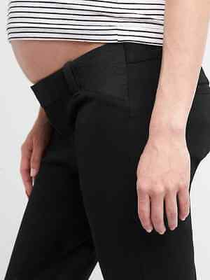 GAP Maternity Bi-Stretch Inset Panel Skinny Ankle Pants Black Womens 6 NWT $70