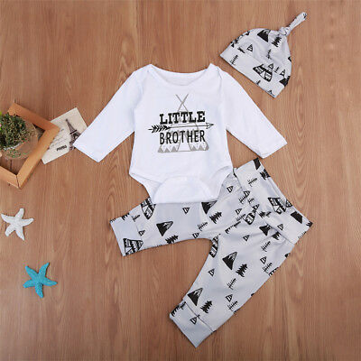 UK Toddler Kid Baby Boy Tops Romper Arrow Pants Leggings Hat Clothes Outfits Set