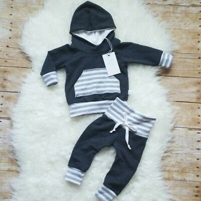 UK Toddler Kids Baby Boys Striped Hooded Tops Pants Leggings Outfits Set Clothes
