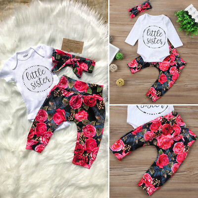 UK Sister Newborn Baby Girls Cotton Romper Flower Pants Leggings Outfits Clothes