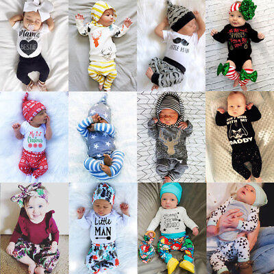 UK Newborn Baby Boys Girls Tops Romper T-shirt Pants Leggings Outfit Clothes Set