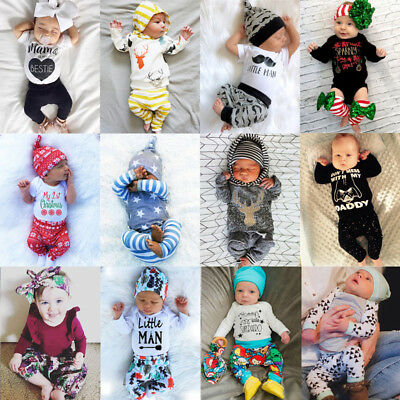 UK Newborn Baby Boys Girls Tops T-shirt Pants Outfit Cotton Clothes Sunsuit XMAS