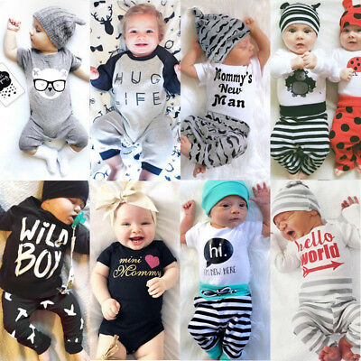 UK Newborn Baby Boys Girls Top T Shirt Romper Pants Bodysuit Outfit Set Clothes
