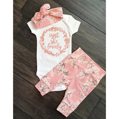 17a465a2beaf UK STOCK NEWBORN Baby Girl Outfits Clothes Summer Tops Romper+Pants ...