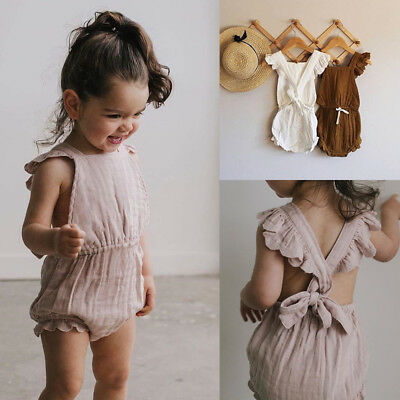 UK Newborn Kid Baby Girls Romper Jumpsuit Bodysuit Cotton Clothes Sunsuit Outfit