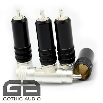 Set Of 4 Locking Silver Plated RCA Connectors