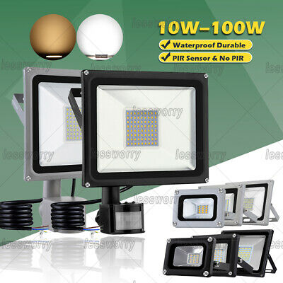 LED Floodlight 10/20/30/50/100W PIR Sensor Motion Security Flood Light Warm Cool