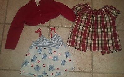 Janie And Jack girls 2T lot EUC red cardigan, blouse, summer tank so cute!!