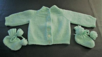 Vintage Hand Knitted Mint Green Baby Sweater/Booties