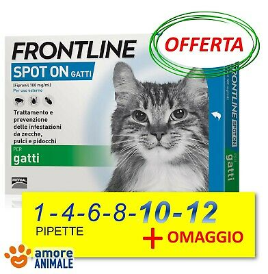Frontline Spot On Gatto - 4 / 8 / 12 pipette - Antiparassitario Gatti - NEW