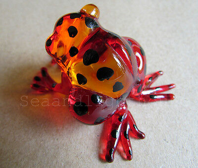 Red Amber FROG Hand Painted Blown ART Glass Animal Figurine Collectible Decor