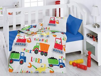 100% Cotton Vehicles Lorry Truck Crib Bedding Baby Duvet Cover Set for Boys Blue