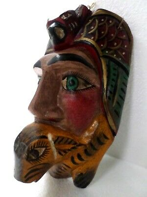 Mexican Art Carved Wood Wall Mask Spanish Colonial Conquistador Bat Rabbit